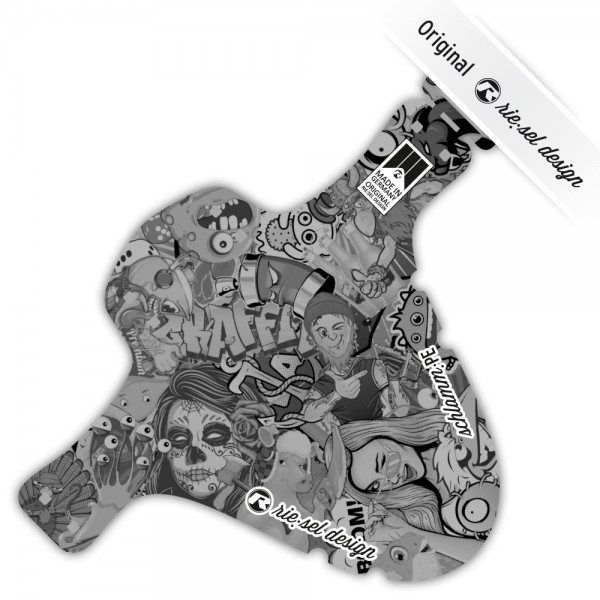 rie:sel design Mudguard schlamm:PE Stickerbomb ultra black